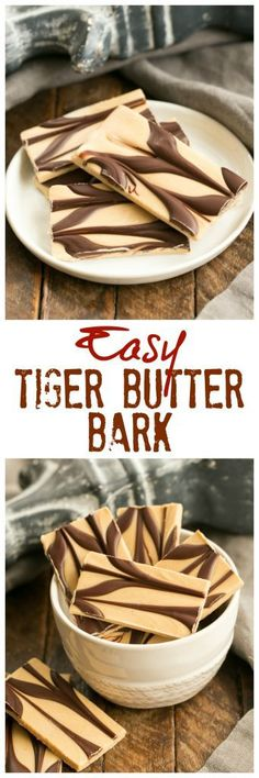 Peanut Butter Chocolate Tiger Bark | A beautiful, easy peanut butter chocolate confection! #candy #peanutbutter #chocolate