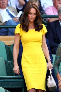 a4911c3db98 kate middleton yellow dress with pleated flutter sleeves rockabilly celeb  inspired custom made