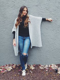 DIY Knit Poncho Free Pattern: Cloaked in Clouds Poncho...