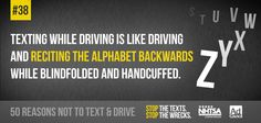 We're counting down top reasons not to text & drive. Repin to remind others how distracting texting while driving is!
