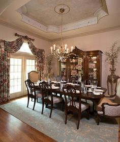 I love the traditional dining room. Would LOVE to have the china cabinet!