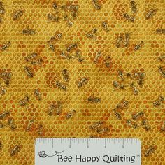 Bees & Flowers Elizabeth Studio 510 Honey Fabric www.beehappyquilting.com    #honeybee #honey #honeybeefabric #bee #honeycomb #honeycombfabric