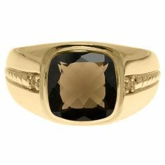 Cushion-Cut Smoky Quartz Gemstone and Diamond Men's Ring In Yellow Gold Available Exclusively at Gemologica.com