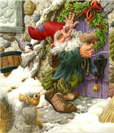 Gnome / Gnomo - Art by Raoul Vitale Christmas Gnome, Christmas Art, Vintage Christmas, Xmas, Magical Christmas, Illustration Noel, Christmas Illustration, Kobold, Elves And Fairies