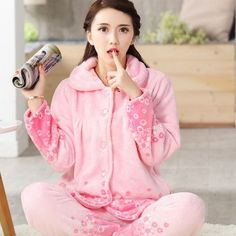 women flannel thick pajamas coral velvet home service long sleeved autumn  and winter size winter warm suit lovely pyjamas women c664eca40