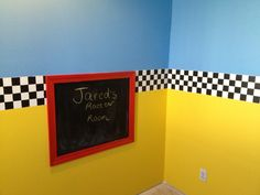 Jared's race car room. I hand painted each black square.