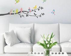 DECOWALL DA-1706 Floral aves sobre rama de árbol pared pegatinas