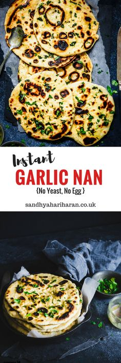 The only Instant Garlic Nan recipe you will ever need. No Yeast, No Egg and really easy to make on your skillet/tava. #flatbread #nan