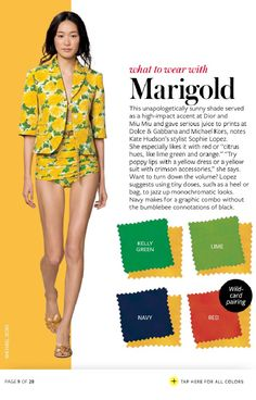 What to wear with the color Marigold - kelly green, lime, red and navy. This color is one of the big trends for Spring 2019 Colour Combinations Fashion, Color Combinations For Clothes, Fashion Colours, Colorful Fashion, Color Combos, Love Fashion, Quoi Porter, Fashion Vocabulary, Instyle Magazine