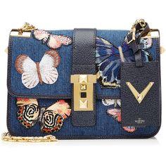 Valentino Butterfly Shoulder Bag (14.780 BRL) ❤ liked on Polyvore featuring bags, handbags, shoulder bags, blue, blue studded purse, chain shoulder bag, valentino purses, shoulder bag purse and studded handbags