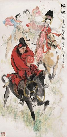 #ChinesePainting of Today Zhong Kui (Chinese: 鍾馗;  is a figure of Chinese mythology) married off his little sister to Du Ping in return  Author: 颜梅华  Read more abou ZhongKui   @CultureInCart.com