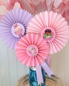 Doc McStuffins Party Centerpiece, Decorated Paper Rosettes for Dessert Table or Candy Buffet at Doc McStuffins Birthday, Purple and Pink Doc Mcstuffins Birthday Party, 4th Birthday Parties, Girl Birthday, Paper Rosettes, Party Centerpieces, Centrepieces, Birthday Decorations, Candy Buffet, Dessert Table