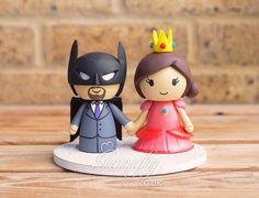 Batman and Princess Peach wedding cake topper by GenefyPlayground  https://www.facebook.com/genefyplayground