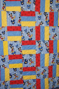 Mickey Mouse Patchwork Quilt by SewMuch4me2do on Etsy, $45.00