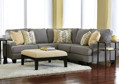 Chamberly Alloy Sectional, /index.php/category/living-room/chamberly-alloy-sectional.html  Could do this for TV room. Already have the rug. Ottoman is child friendly.