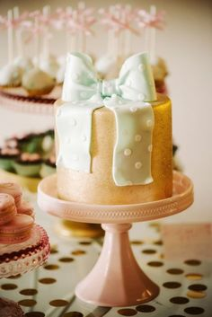 Gold with Mint Polka Dot Bow