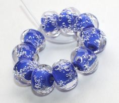 Set of 10 Donut Beads With Air Bubbles  Blue от GlassNatalyaDarlin