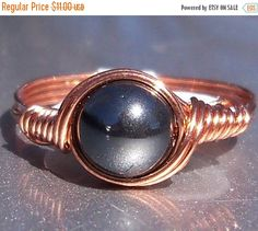 Blowout Sale 40% Off Hematite Copper Wire Wrapped RIng