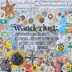 Wanderlust - PAPER PRINT, wanderlust definition, typographic print, wanderlust print, travel art, mixed media collage art