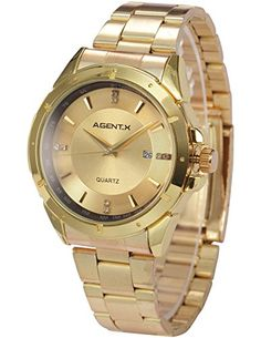 Agent X Herren Armbanduhr Quarzuhr Armband aus Metall Datumanzeige AGX026 - http://uhr.haus/agent-x/ampm24-herren-armbanduhr-quarzuhr-armband-aus