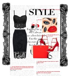"""""""red and black"""" by sabinaaaa ❤ liked on Polyvore featuring Quiz, Christian Louboutin, Kate Spade and stylect"""
