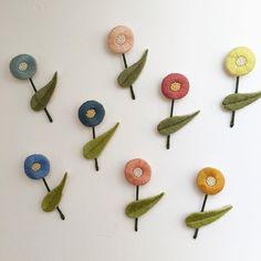 ichirin * やっと8本仕立て終わりました。 のこり4本。 お花の色をすべてかえてみました!  #nukumori #刺繍 #刺繍ブローチ…