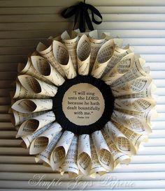 BOUNTIFULLY Thanksgiving Vintage Book Wreath 1940 Texas Hymnal