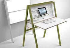 HIDEsk folding desk : The walking office by Michael Hilgers (Germany) Collapsible Desk, Portable Desk, Smart Furniture, Home Furniture, Furniture Design, Furniture Ideas, Bedroom Furniture, Apartment Furniture, Refurbished Furniture