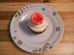Gluten Free Red Velvet Valentines Cupcake with fondant rose