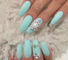 Matte turquoise with Pearl white accent