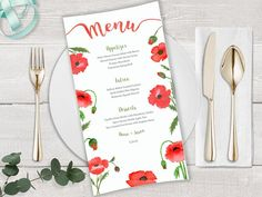 Your place to buy and sell all things handmade Watercolor Poppies, Watercolor Wedding, Wedding Envelopes, Wedding Stationery, Printable Menu, Printables, Wedding Menu, Floral Wedding, Diy Envelope Liners