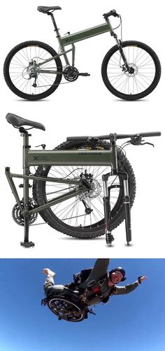 Montague collaborated with DARPA to develop its Paratrooper, a high-speed, all-terrain tactical mountain bike that folds at the turn of a lever into a x pack in less than 30 seconds. Obviously, it was specked for military use. Folding Mountain Bike, Folding Bicycle, Mountain Bicycle, Motorcycle Camping, Camping Gear, Backpacking, Cool Bicycles, Cool Bikes, Montague Paratrooper
