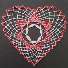 Lace Heart, Lace Jewelry, Bobbin Lace, Happy Valentines Day, Lace Detail, Doilies, Bobbin Lacemaking, Nail String, Green