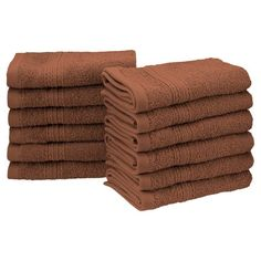 Superior Eco-Friendly 100% Ringspun Cotton 12 Piece Face Towel Set Brown - EF-FACE BR