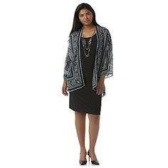 Studio 1 Women's Plus Layered-Look Shift Dress & Necklace