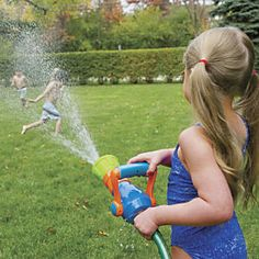 Fire Hose Nozzle Water Blaster Toy:The hardest thing about this fire-hose style water blaster: getting kids to put it down! Play firefighter…cool off on a hot day...let me water the garden, Dad! Just like a real fire hose nozzle; advance the handle to increase the water pressure. Firefighter toy features four spray patterns. Hooks to your garden hose...