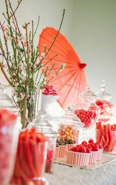 Asian table setting with red umbrella