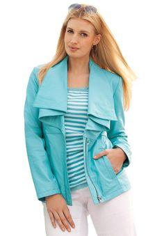 Amazon.com: Jessica London Women's Plus Size Lightweight Leather Jacket: Clothing