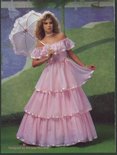 1984 Ball Gown or Tinted Wedding Gown Ugly Wedding Dress, Wedding Dress Pictures, Wedding Attire, Wedding Dresses, Vintage Prom, Vintage Bridal, Gala Dresses, Satin Dresses, Pretty Dresses