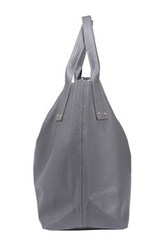 """All in Fancy (fog) Very versatile, simple model that fits everything - summer dress or elegant coat, sporty outfit or evening dress. As all of our bags, made of thick Italian leather. It has solid handles that can bear any weight :) Closed with magnetic lock. According to the motto """"less is more"""" its only adornments are silver rivets. http://en.fancyu.pl/"""
