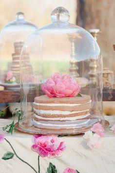 Desserts under glass cloche