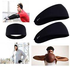 952cd6d1e67 2 Pcs Mens Sports Headband Guys Elastic Thin Sweatband Running Workout Gym  Black