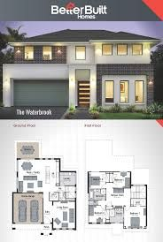 The Waterbrook: Double Storey House Design.m – x The perfectly proportioned Waterbrook offers pure luxury. Addressing all aspects of the lifestyle you have dreamed of enjoying – there's the living room for watching movies, the cent Two Story House Design, 2 Storey House Design, Duplex House Design, Two Storey House, Modern House Design, Dream House Plans, Modern House Plans, House Floor Plans, Double Storey House Plans