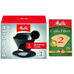 Melitta Pour Over Coffee Cone Brewer and  no.2 Filter Natural Brown Combo Set -- To view further, visit now : Coffee Maker