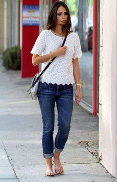 white lace blouse - skinny jeans - metallic flip flops - gray + black crossbody bag | jordana brewster