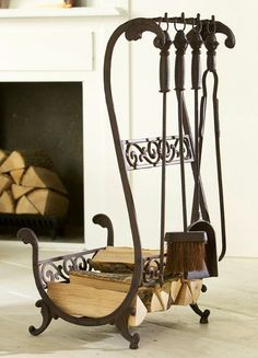 Wrought iron firewood and utensil caddy