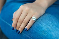 Personalized Signet Seal  Ring, Sterling Silver, 1-3 Letters Monogram and/or Black Diamond / Zircon, Family Crest Engraving is also Optional by PaulaLapidot on Etsy
