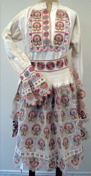 Croatian woman's folk costume (front), with dress and apron