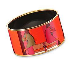 "Nouveau Rocabar Hermes extra wide printed enamel bracelet  Gold plated, 1.5"" wide, 2.5"" diameter"