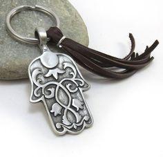 Hamsa Keychain Hand of Fatima Keyring Leather por StormyRoad